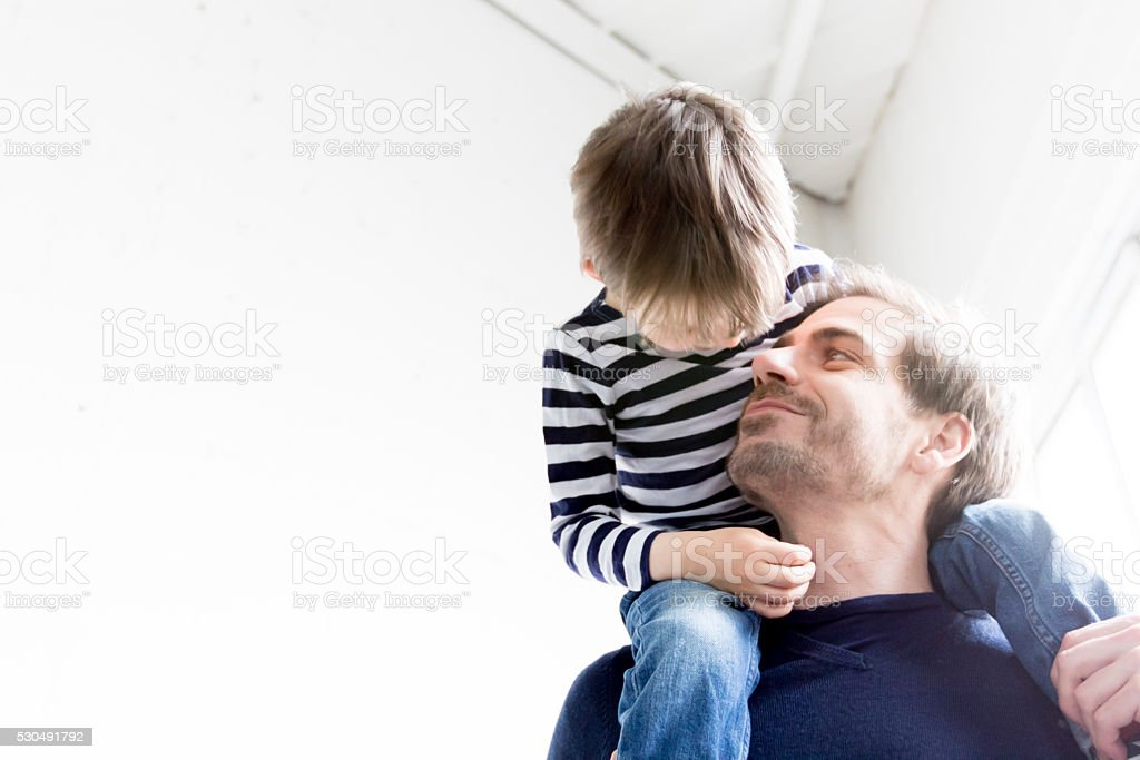 Awww Father and Son having fun stock photo