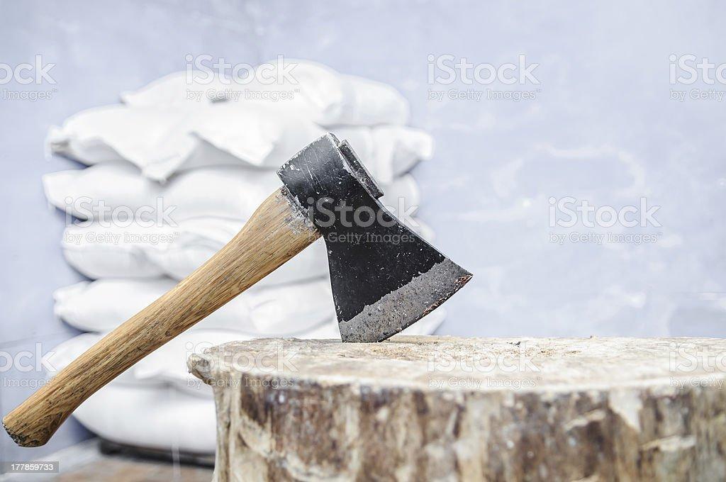 ax into a tree royalty-free stock photo