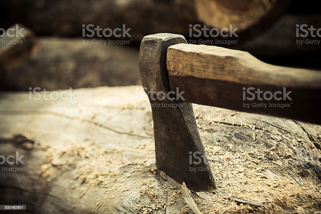 ax on the timber. stock photo