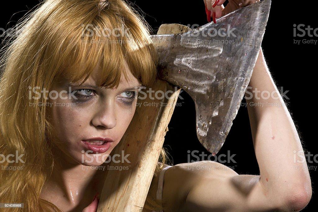 axe girl royalty-free stock photo