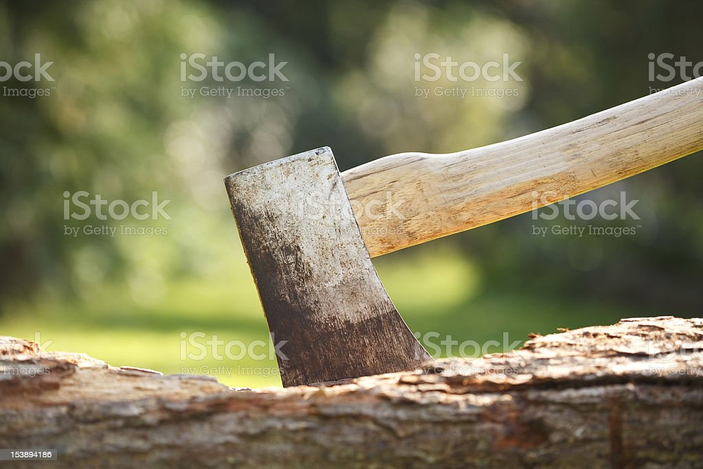 Axe in wood stock photo
