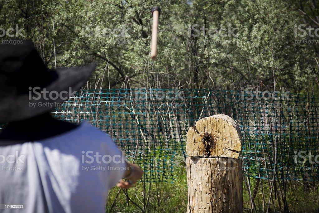 Axe Throwing stock photo