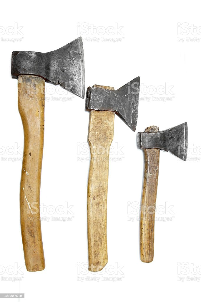 axes big large medium small wooden handle working vintage isolat stock photo