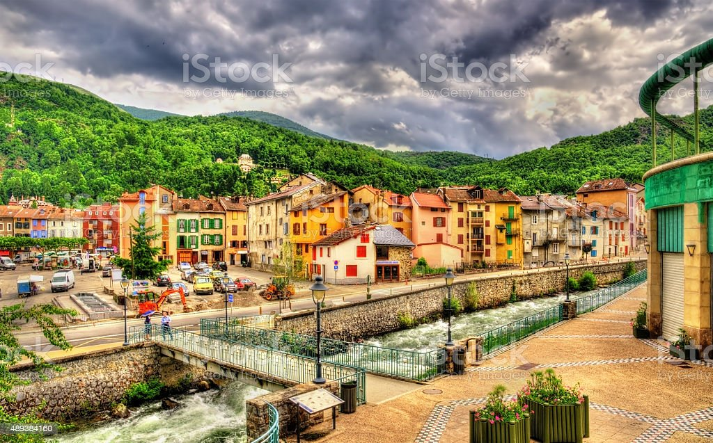 Ax-les-Thermes with the Oriege river - France, Midi-Pyrenees stock photo