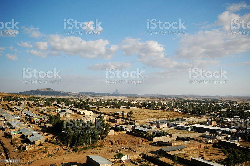 Axum, Ethiopia from above. stock photo