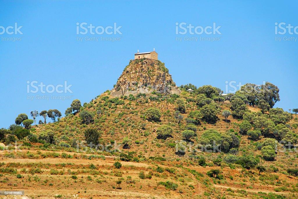 Axum, Ethiopia: hill and Abba Pentalewon monastery stock photo