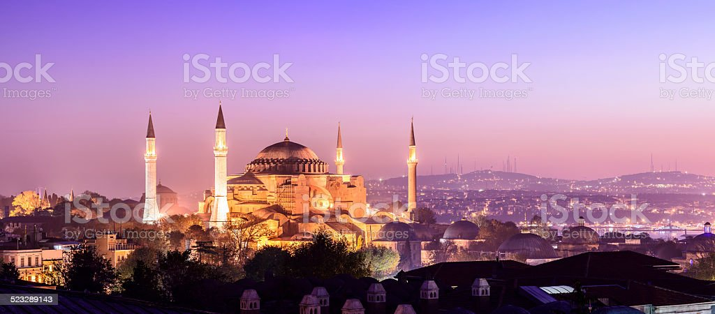 Aya Sofya Mosque at Night in Istanbul Turkey stock photo