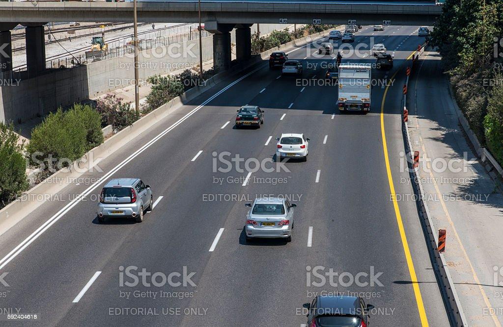 Ayalon highway in Tel aviv stock photo