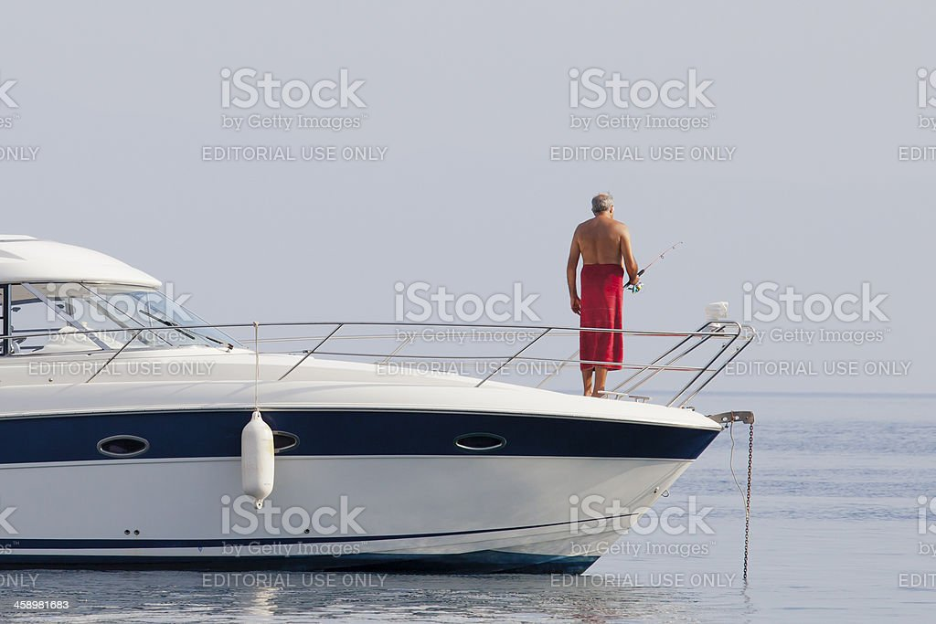 Aygun Named motor boat at Akyarlar-Bodrum royalty-free stock photo