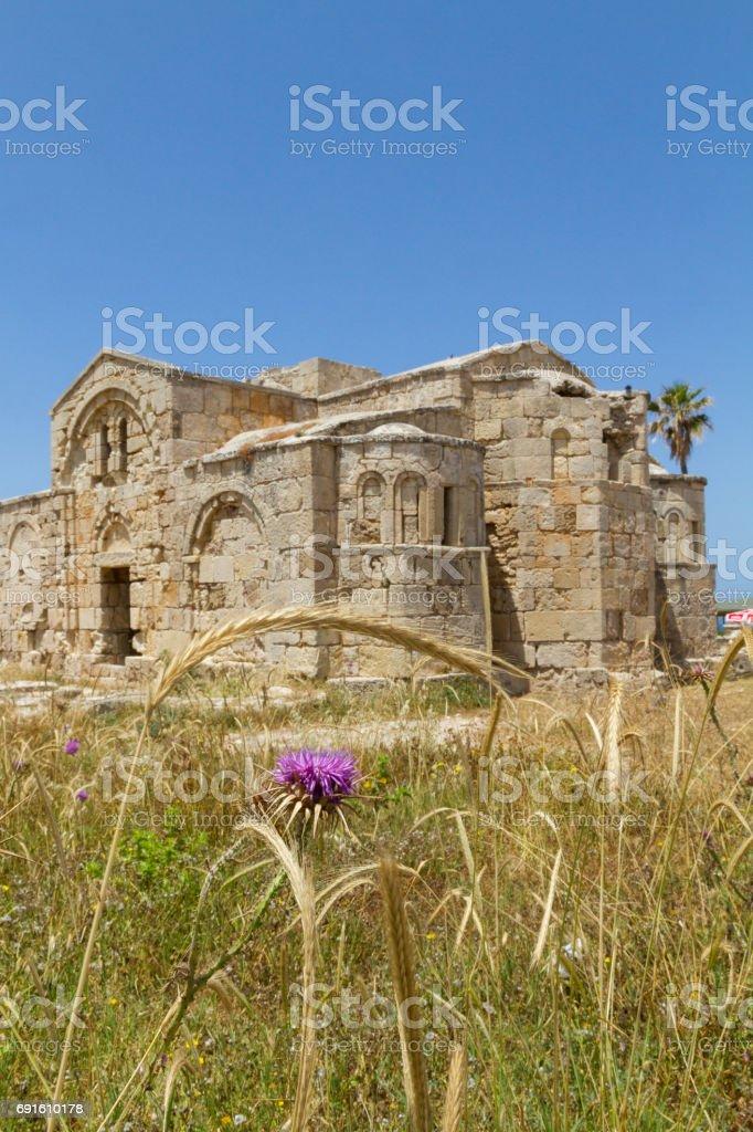 Ayios Filon medieval church behind thorn and barley ear, Cyprus stock photo