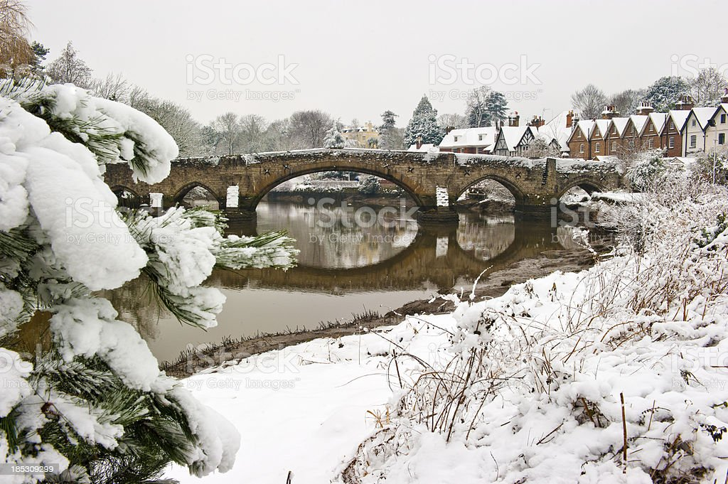 Aylesford Bridge over the RIver Medway in Winter stock photo