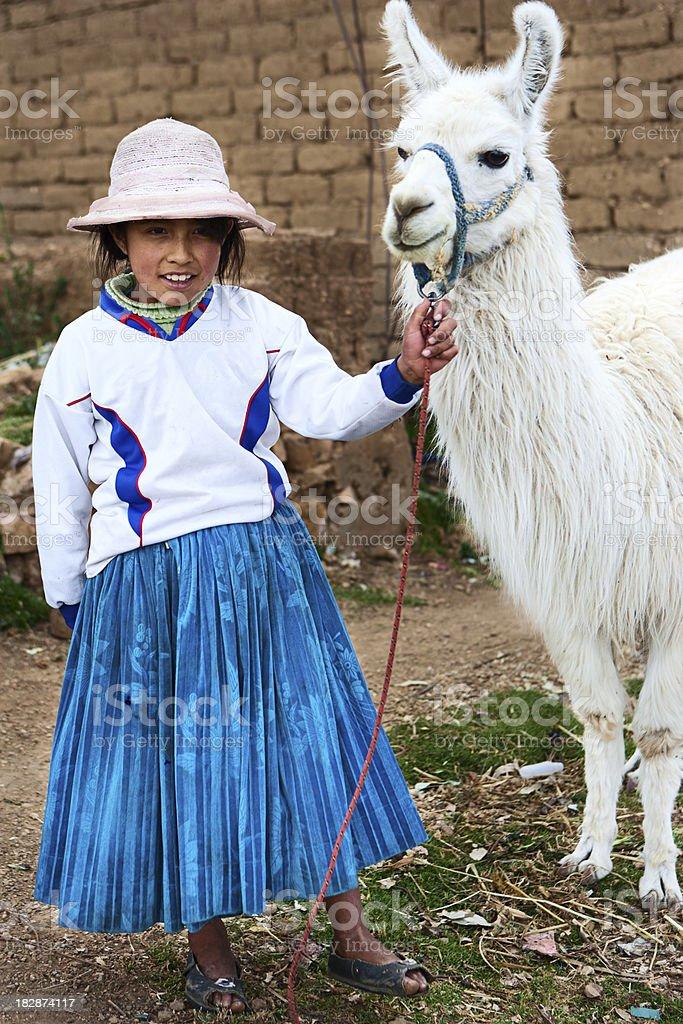 Aymara girl with llama, Isla del Sol, Bolivia royalty-free stock photo