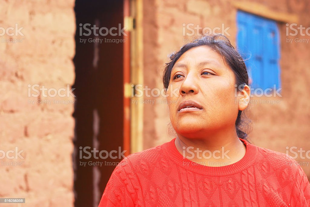 Aymara woman in the countryside stock photo