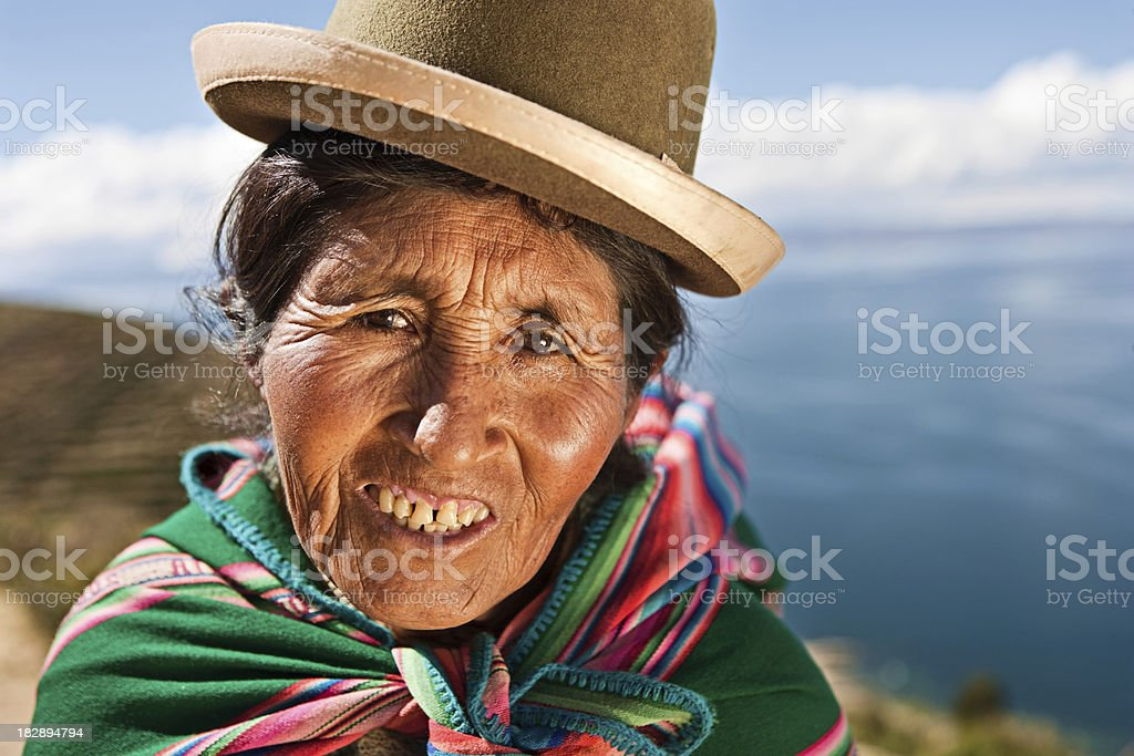 Aymara woman on Isla del Sol, Bolivia royalty-free stock photo