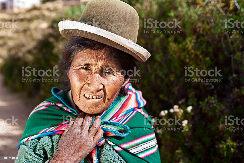 Aymara woman on Isla del Sol, Bolivia stock photo