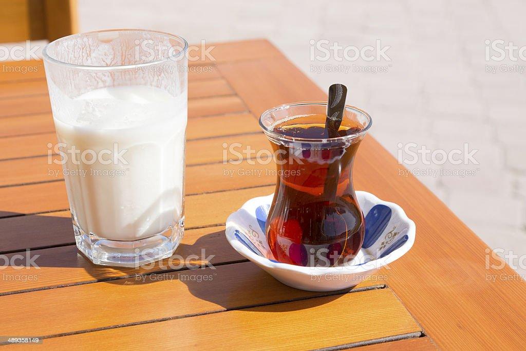 Ayran and Tea stock photo