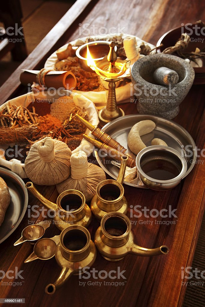 ayurveda herbal medicine supplies royalty-free stock photo