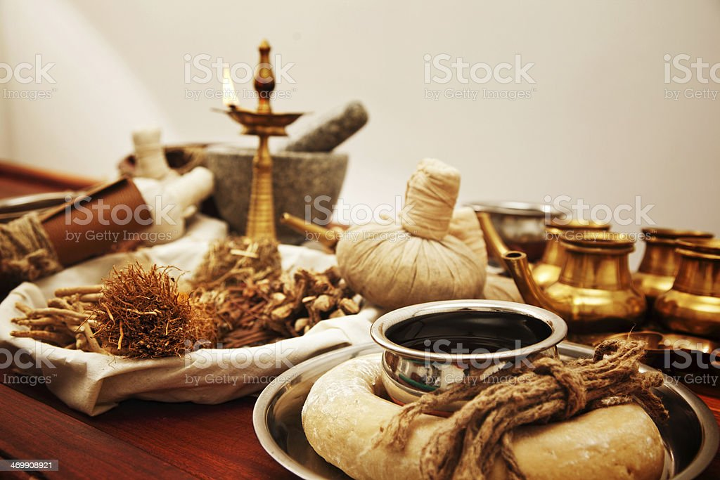 ayurveda herbal medicine supplies stock photo