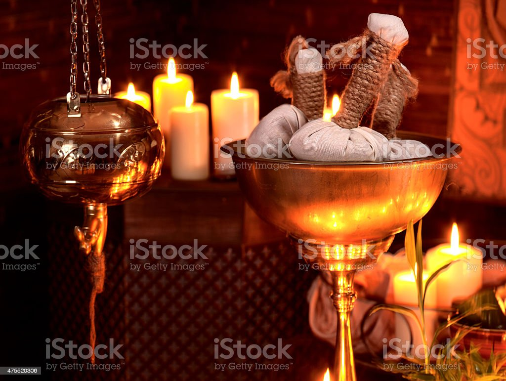 Ayurvedic spa massage still life stock photo