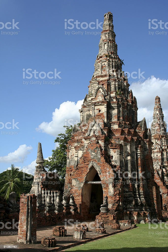 Ayuthaya temple ruins royalty-free stock photo
