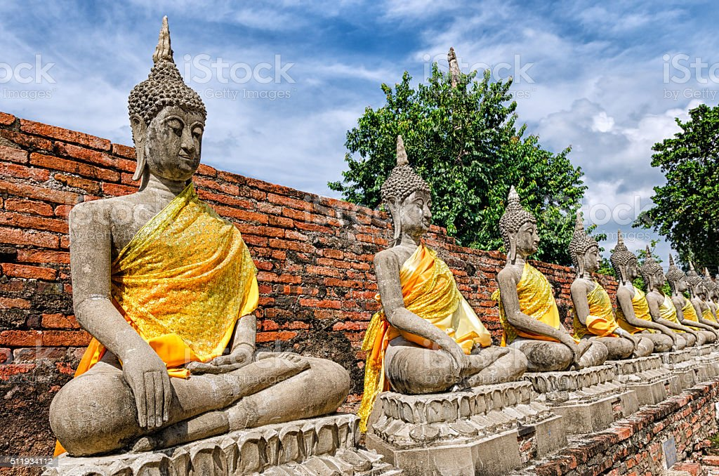 Ayutthaya (Thailand), Buddha statues in an old temple ruins stock photo