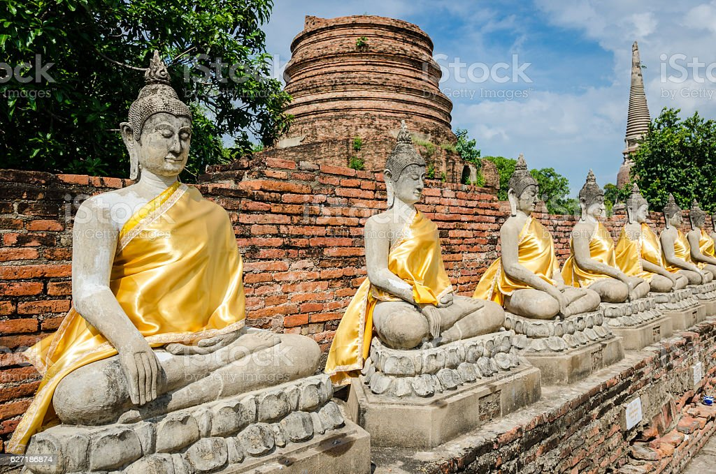 Ayutthaya (Thailand), Buddha statues in old temple ruins stock photo