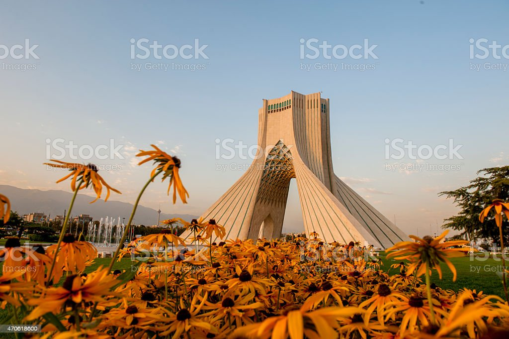 Azadi Tower at sunset moment, Iran stock photo