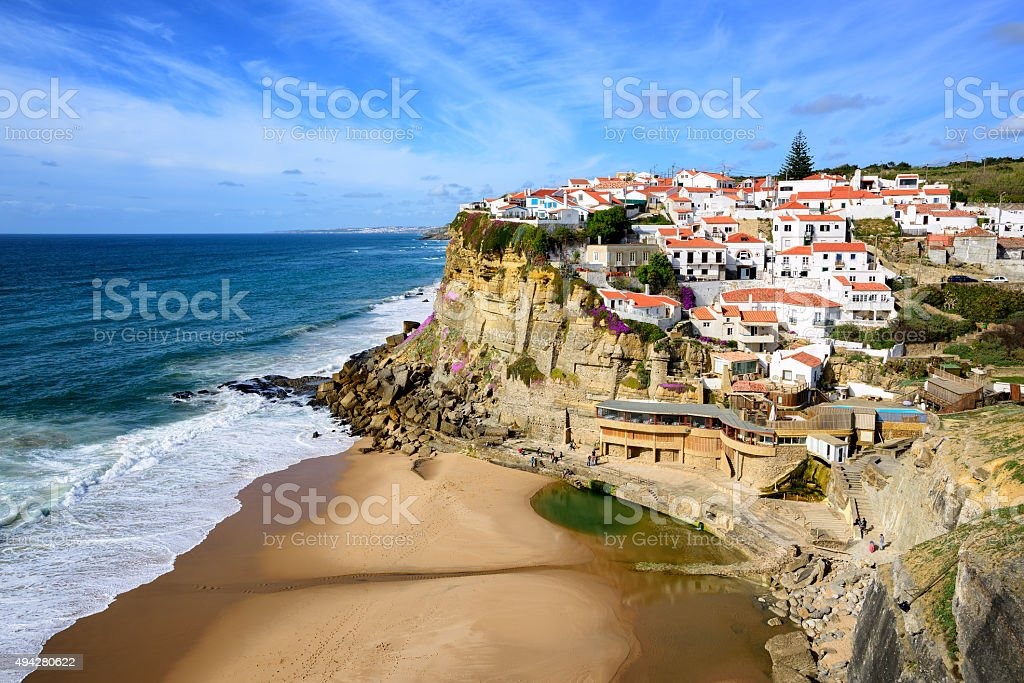 Azenhas do Mar, fishermen village on atlantic coast by Sintra stock photo