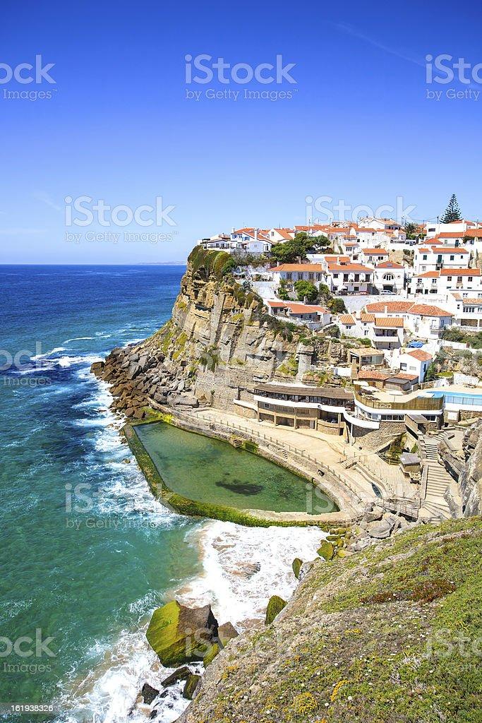 Azenhas do Mar white village, cliff and ocean, Sintra, Portugal. stock photo