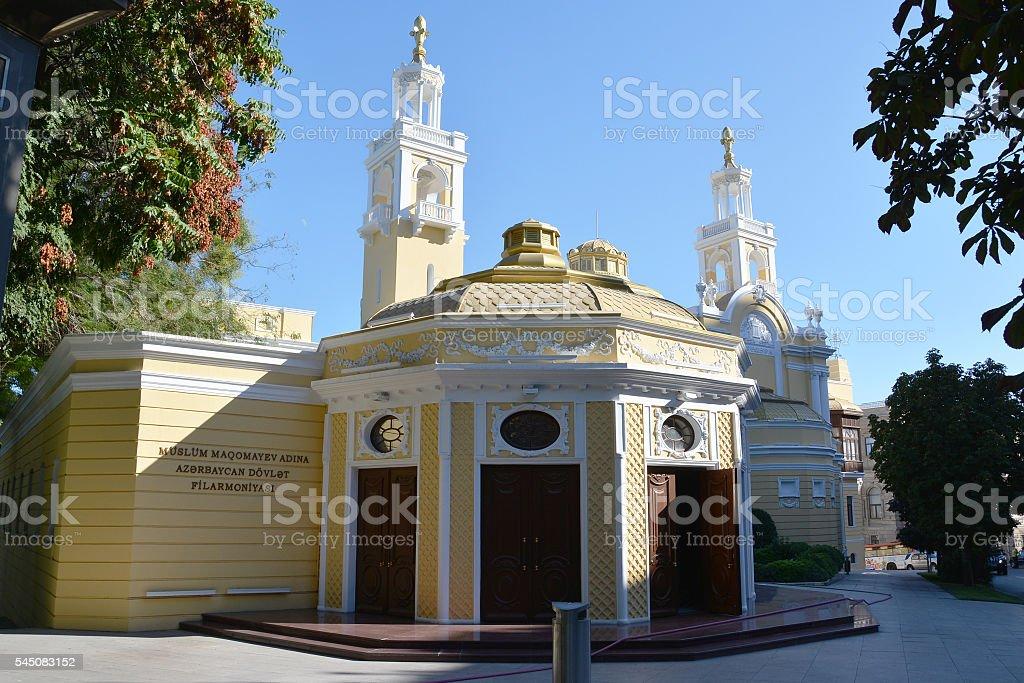 Azerbaijan State Philharmonic Hall side view, Baku stock photo