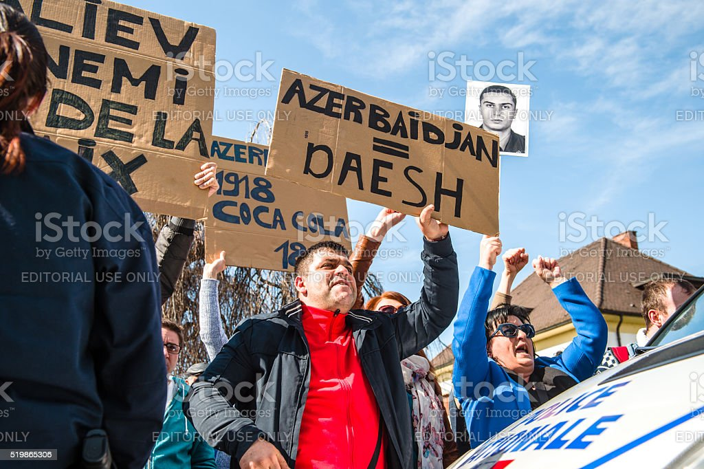 Azerbaijanis ISIS (Daesh) sign hold by protester stock photo
