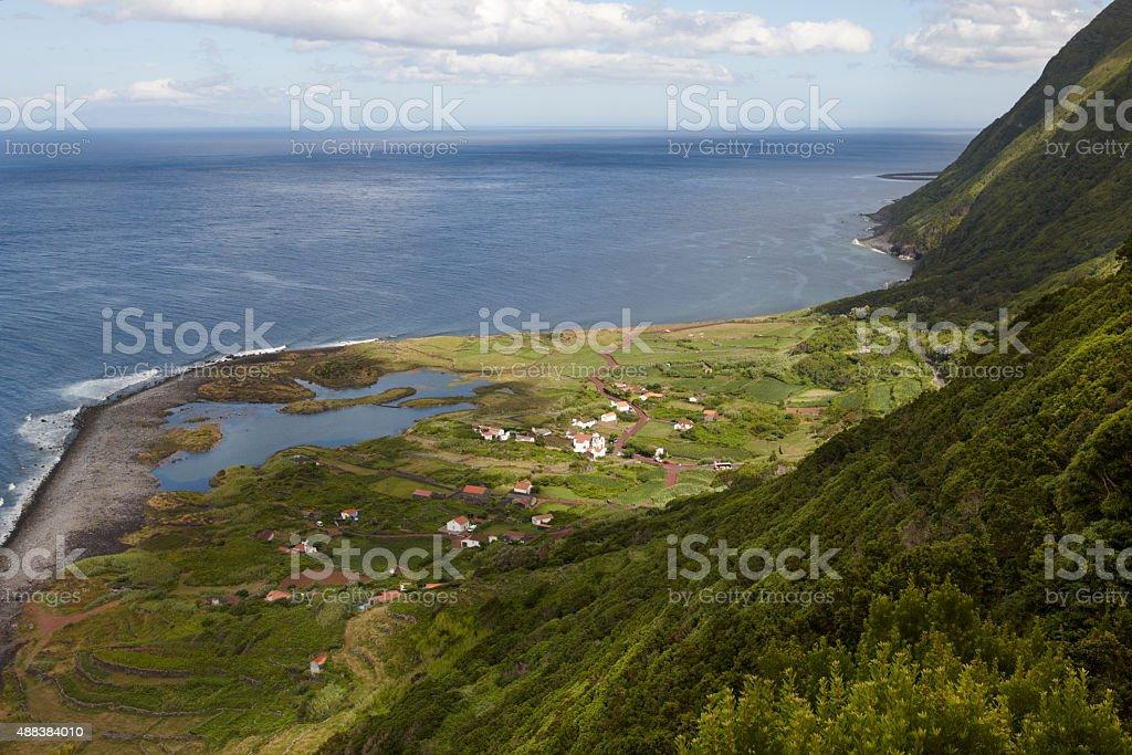 Azores coastline landscape in Sao Jorge island with atlantic oce stock photo