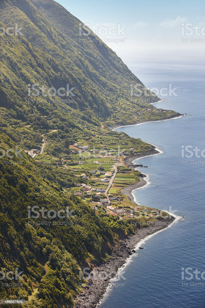 Azores coastline landscape with village in Sao Jorge island. Por stock photo