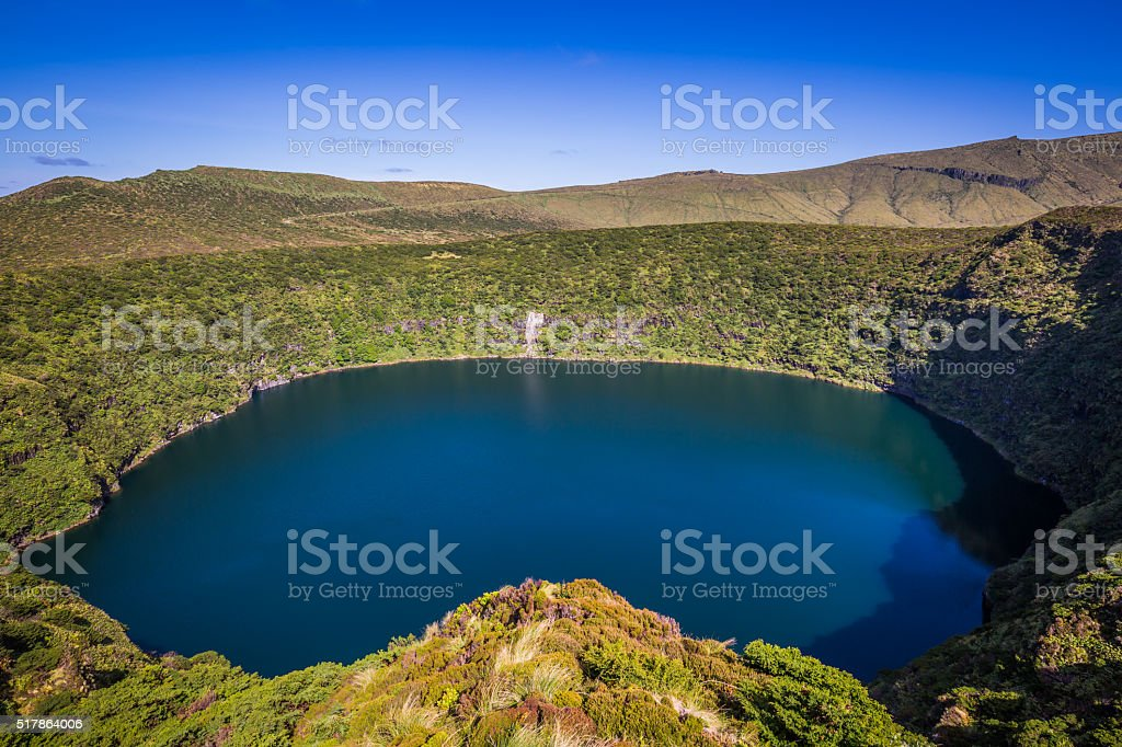 Azores landscape with lakes in Flores island. Caldeira Comprida stock photo