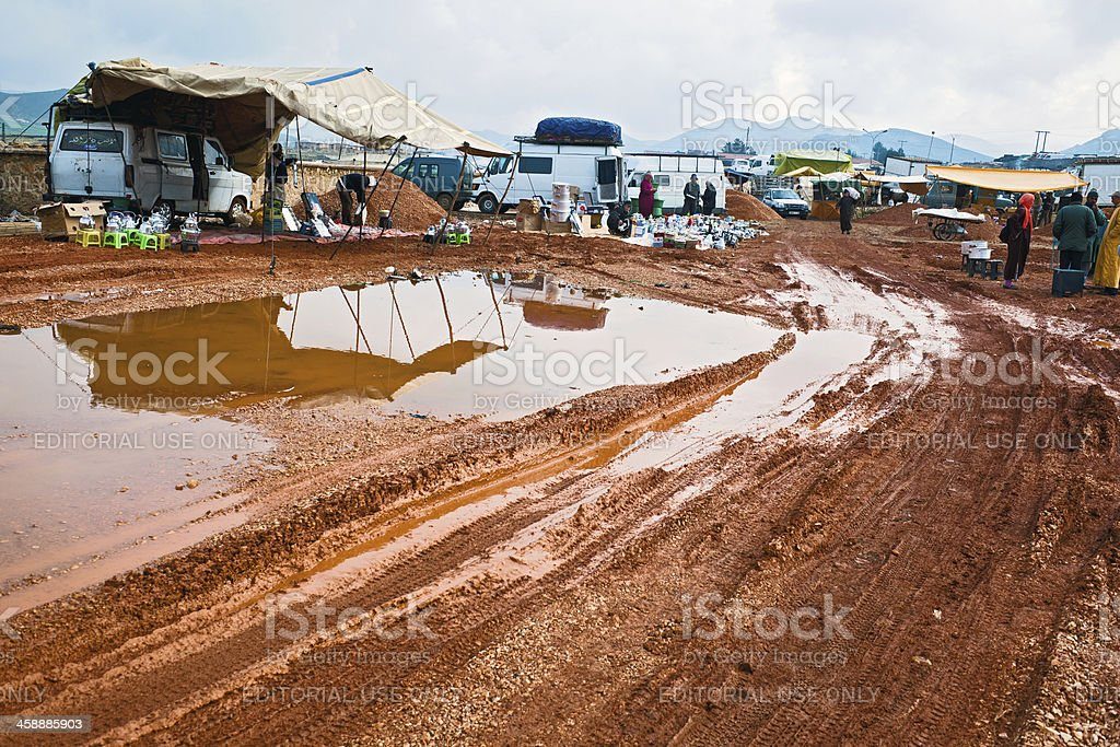 Azrou Market with Pots in Morocco after Rain Africa royalty-free stock photo