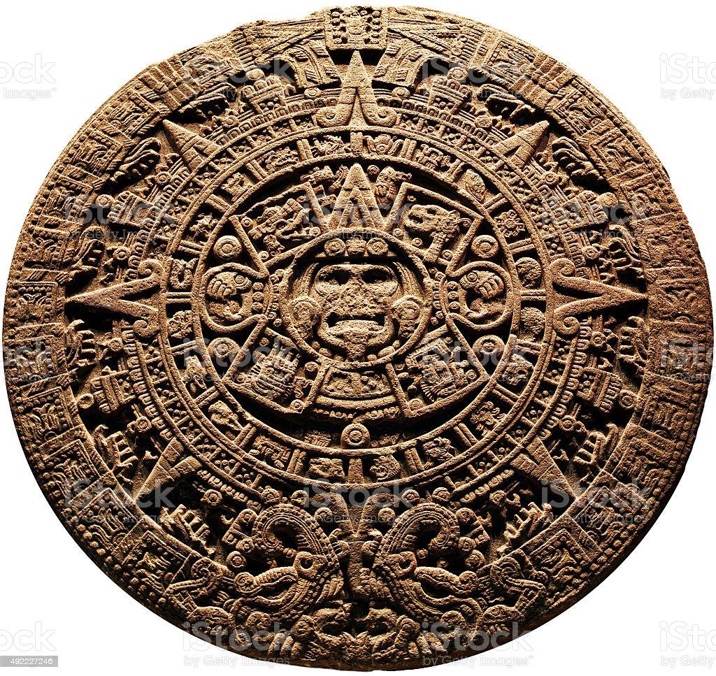 Aztec calendar - on a white background stock photo