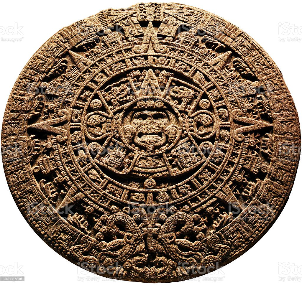 Aztec calendar - on a white background stock photo
