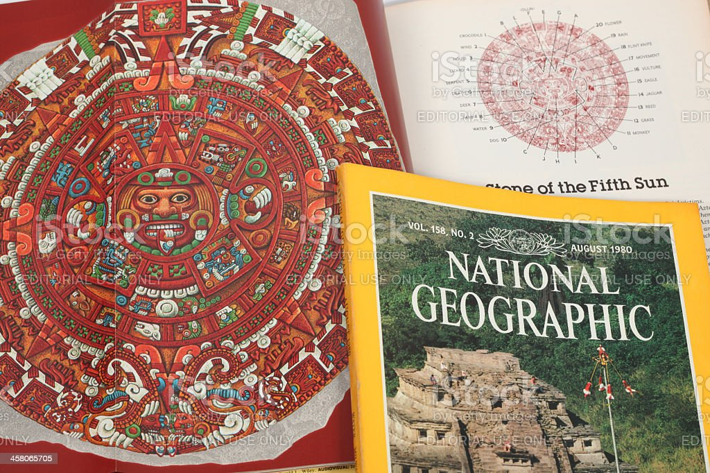 Aztec calendar on National Geographic magazines stock photo