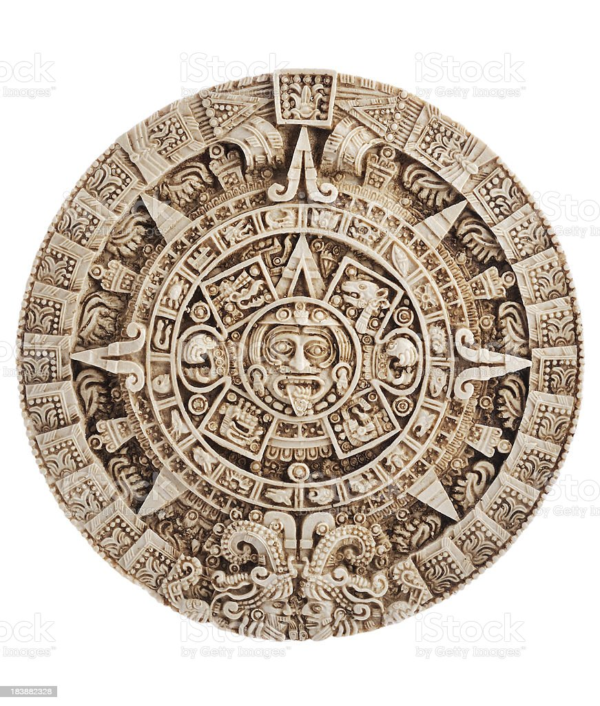 Aztec calendar, Stone of the sun, Mexico, clipping path included stock photo