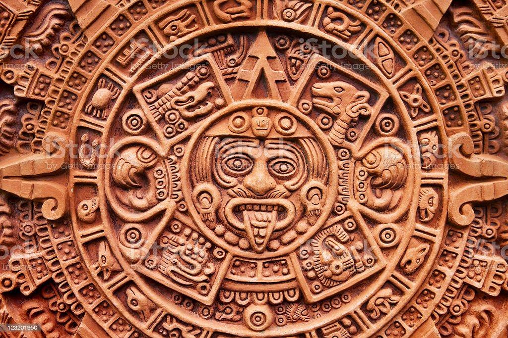 Aztec calendar Stone of the Sun stock photo