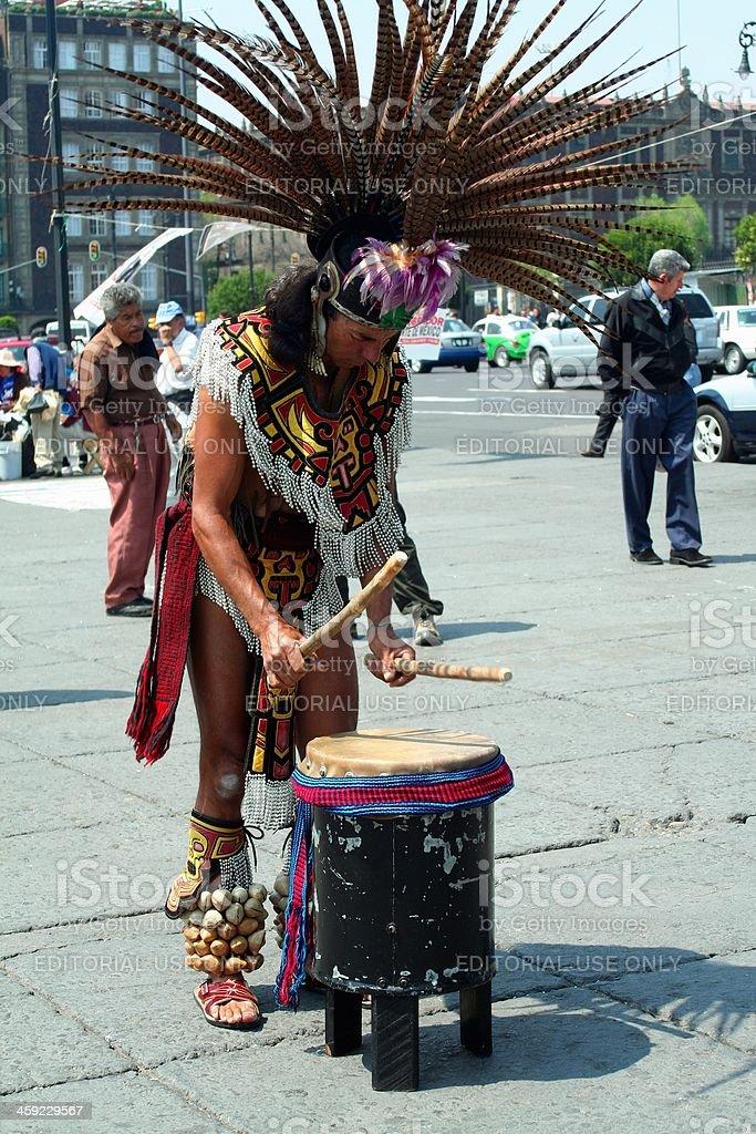 Aztec drummer stock photo