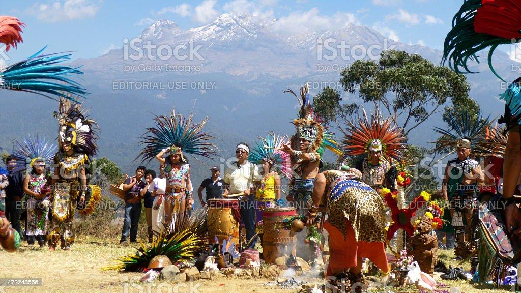 Aztec Mexica traditional ceremony near Iztacc?huatl mountain, Mexico. stock photo