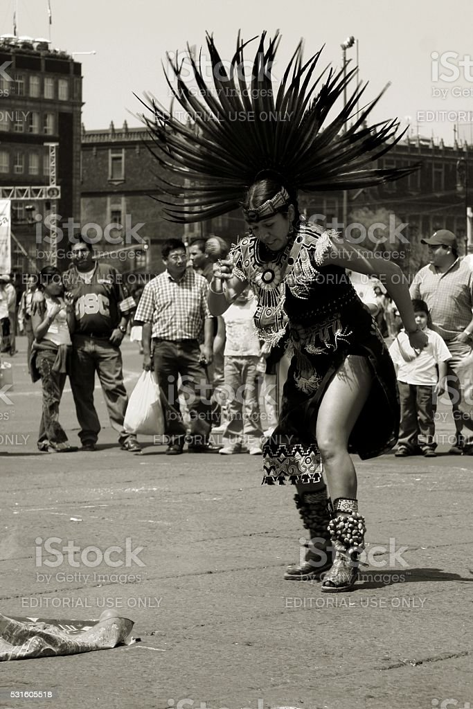 Aztec woman Tribal dance Mexico City Zocalo stock photo