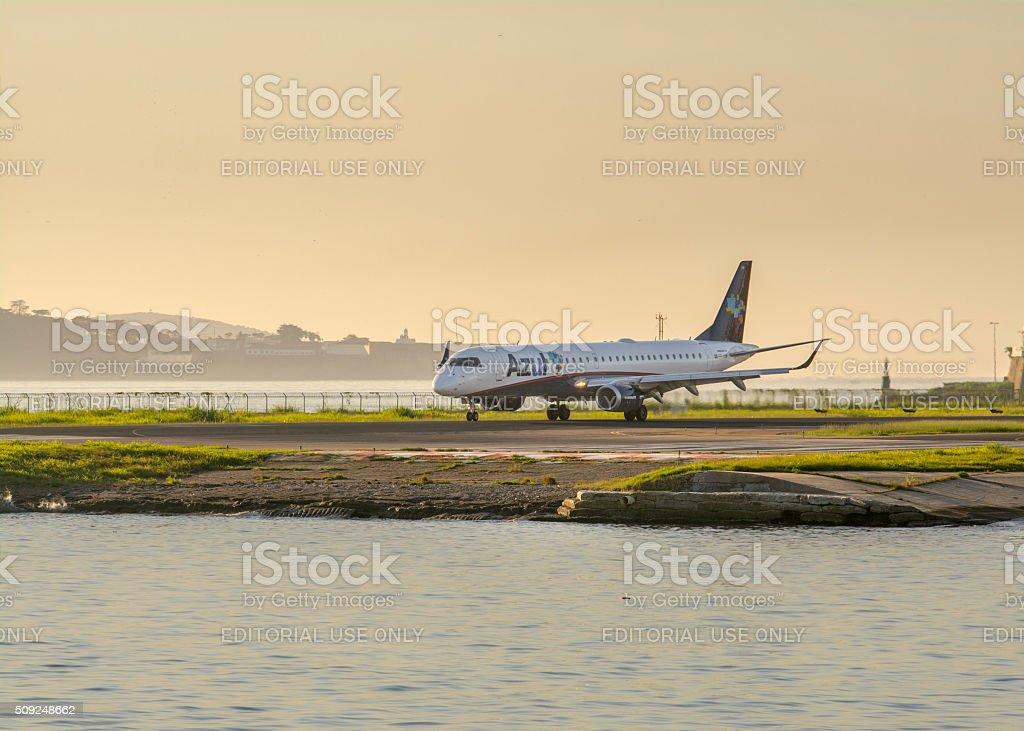 Azul airplane on the landing strip royalty-free stock photo