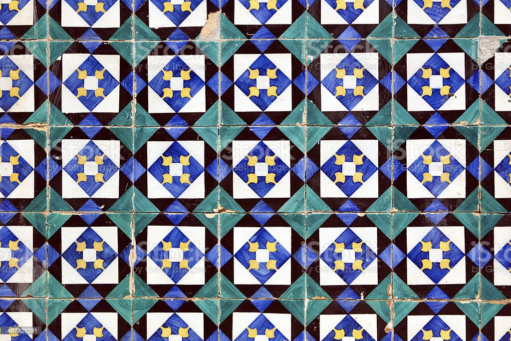 Azulejos, old hand painted tiles at Lisbon house royalty-free stock photo