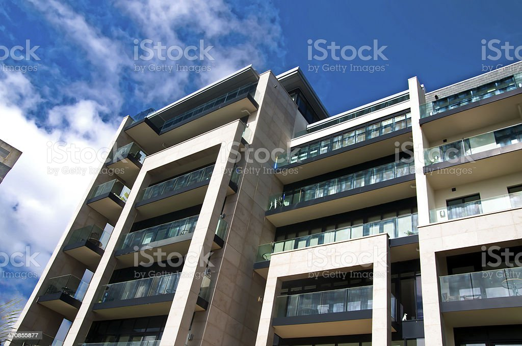 Azure apartments on Plymouth Hoe stock photo