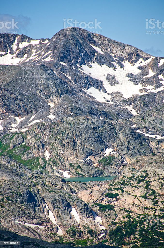 Azure Lake at Rocky Mountain National Park stock photo