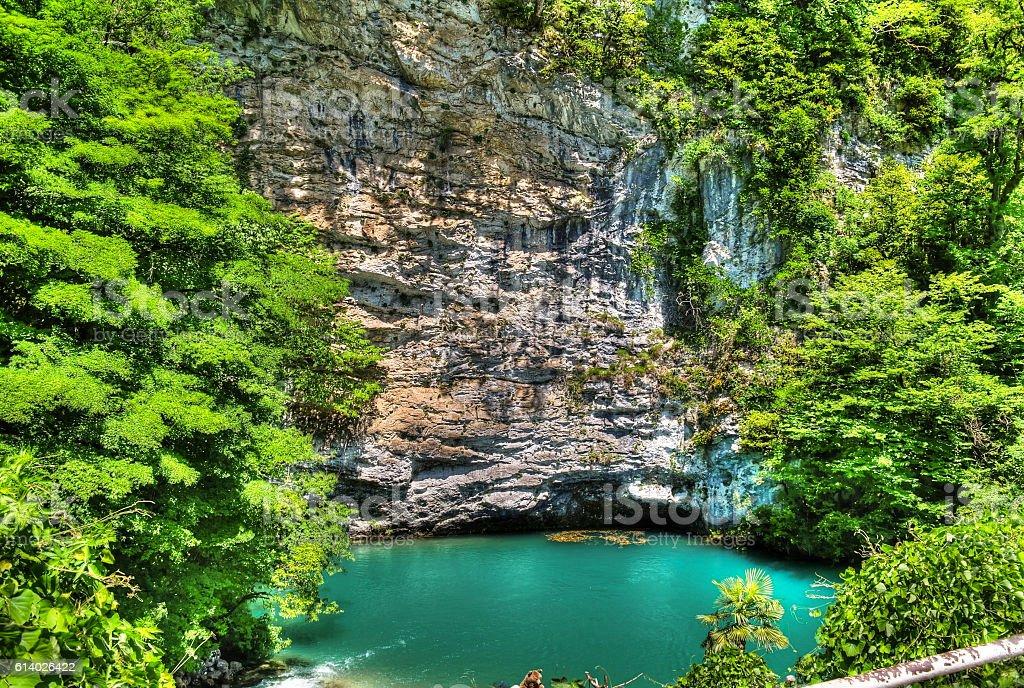 Azure lake in Abkhazia stock photo