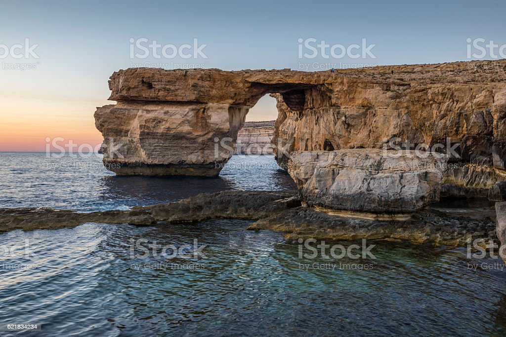 Azure Window at sunset stock photo