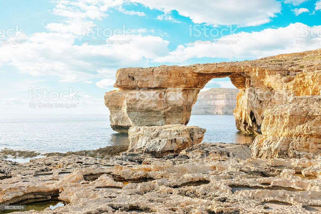 Azure window in sunset, Malta stock photo